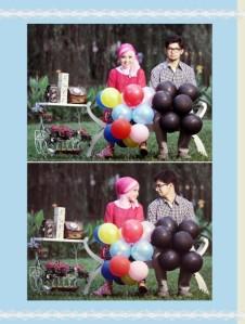 Warna balon yang berbeda cuma mau nunjukin, walaupun dunia kita mungkin berbeda tapi kita bahagia bersamaa.. (ejiyee...)